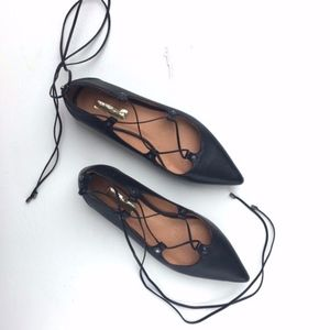 Halogen Pointed Toe Lace Up Flats sz 8